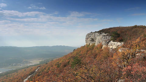 Movement of the clouds on the mountain. Cave city Eski-Kermen, Crimea, Ukraine VI-XIV centuries Footage