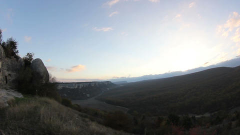 sunrise in the mountains. Cave city Eski-Kermen, Crimea, Ukraine VI-XIV centuries Footage