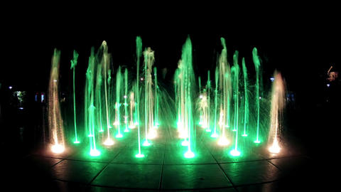 Colorful Fountain At Night Stock Video Footage