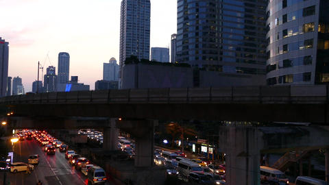 Time lapse from traffic in the evening in Bangkok Footage
