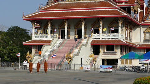 Monks walk towards the prayer hall Footage