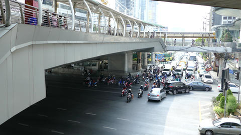Traffic and the skywalk in Bangkok Footage