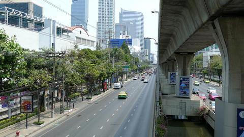 Traffic at Sathon Tai Road and Sathon Nuea Road in Bangkok Footage