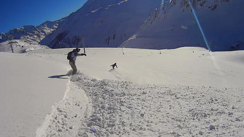 Having fun snowboarding in Val d´Isere Footage
