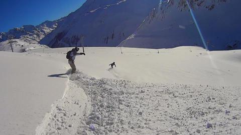 Having fun snowboarding in Val d´Isere Footage