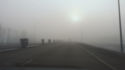 Thick fog on the highway Footage