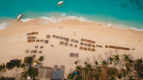 Aerial view beautiful tropical island and sand beach. Boracay island Philippines Photo