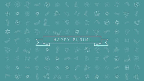 Purim holiday flat design animation background with traditional outline icon Animation