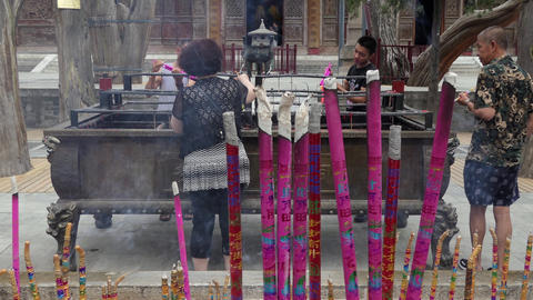 Incense Sticks Burning At Old Chinese Temple In China Asia Footage