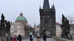 The Charles Bridge and Old Town Bridge Tower in Prague Footage