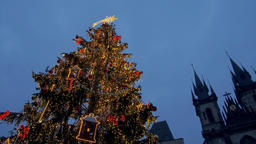 Christmas Tree at the Christmas Market in Prague Footage