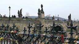 Love locks on the Charles Bridge in Prague Footage