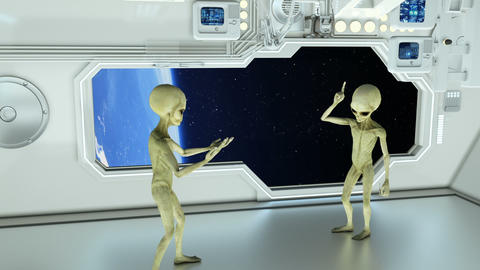 Aliens on a spaceship arguing on background planet Earth. A futuristic concept CG動画素材