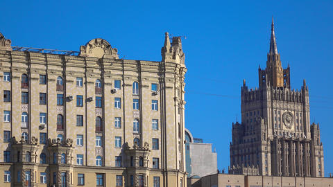 Russian ministry of foreign affairs pan shot. 4K sunny day video Live Action