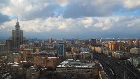 Partly cloudy winter time lapse. Leningradsky prospekt avenue , Moscow. 4K Footage