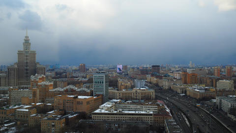 Moscow partly cloudy winter time lapse. Leningradsky prospekt avenue . 4K Footage