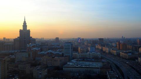 Moscow sunset time lapse. Leningradsky prospekt avenue . High altitude shot Footage
