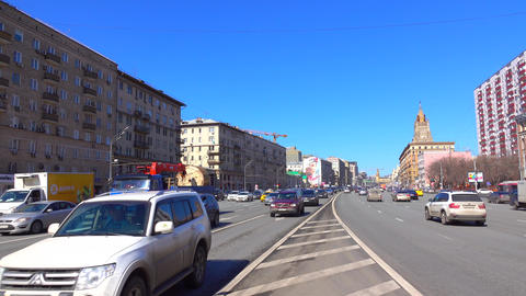Incoming and outgoing traffic of wide city highway 4K video, wide lens. Moscow Footage