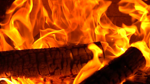 High speed camera close up shot of burning firewood Live Action
