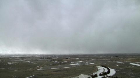 Huge snow storm rolling in over landscape Footage