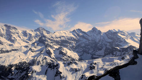 Majestic snowcapped mountain panorama winter landscape alps glaciers Live Action