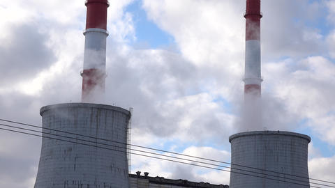 Cooling towers and factory smoke stacks Footage