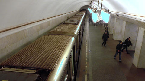Train departs from Moscow metro station Kurskaya ring . February, 16, 2016 Footage