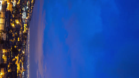 Vertical video. Sunrise over the city, Tivoli, Italy. Time Lapse Footage