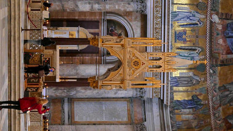 Vertical video. Inside the Basilica of St. Paul Outside the Walls. Zoom. Rome, Footage