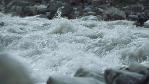 Furious mountain river stony rapids water flow with white splashes Live Action