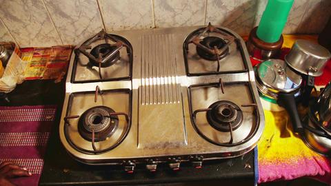 Close up gas, Indian home kitchen setup Live Action