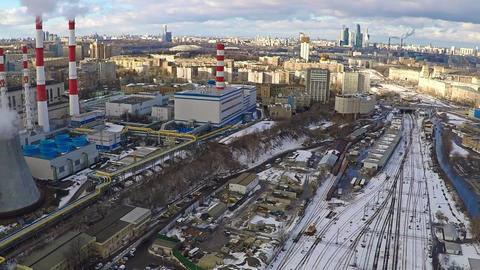 Moscow industrial and residential areas in winter, aerial pan shot Footage