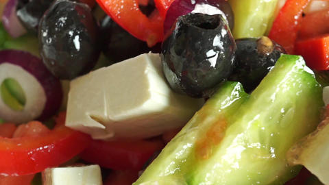 Fresh Greek salad macro dolly shot Footage