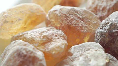 Big crystals of brown sugar, macro dolly shot Live Action