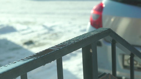 Scattering drops of thawing snow, slow motion close up shot Footage