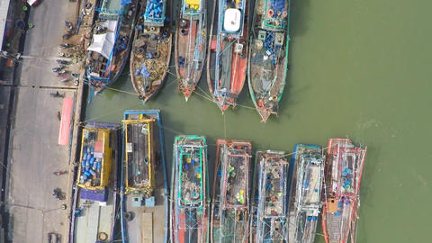 Aerial shot of old fishing vessels, Thailand Footage