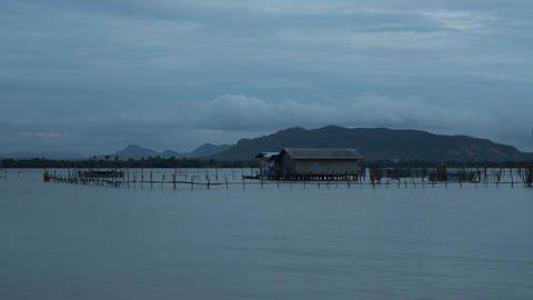 Evening cloudy time lapse of Ko Yo island fisherman village, Thailand Footage