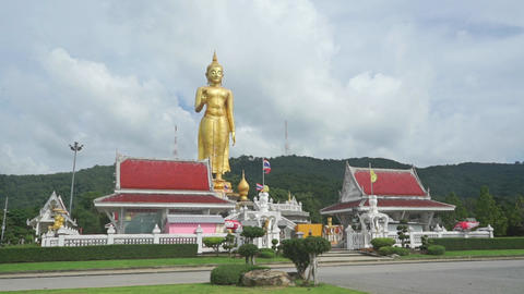 Golden statue of Buddha in temple of Songkhla city, Thailand Footage