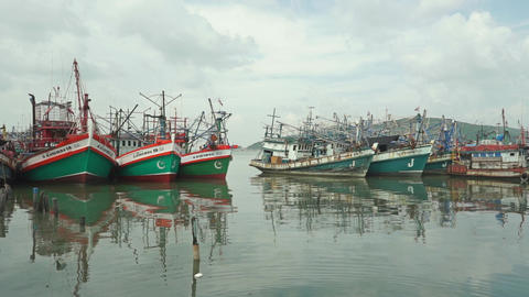 Parked old fishing boats Footage