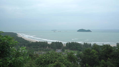 Tropical beach behind jungle in bad weather. Slow motion video Footage