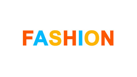 text FASHION from letters of different colors appears behind small squares. Then Animation