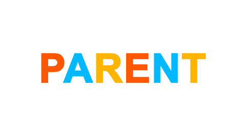 text PARENT from letters of different colors appears behind small squares. Then Animation