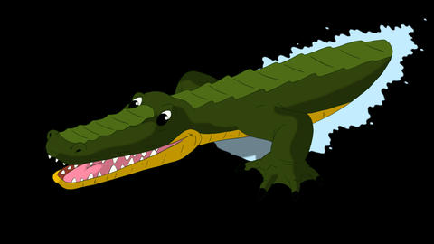 Crocodile Attacks Front View Alpha Animation