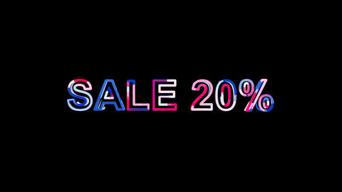 Letters are collected in sale tag SALE 20%, then scattered into strips. Bright Animation