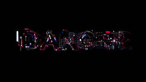Letters are collected in text DANGER, then scattered into strips. Bright colors. Animation