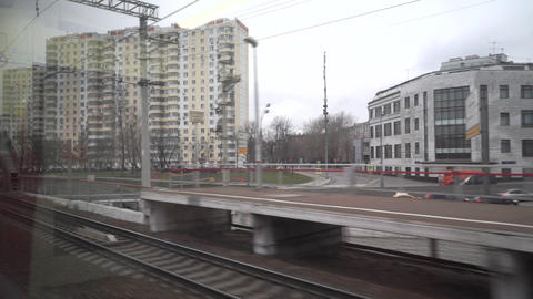 Train passing a railroad bridge in Moscow. View from the window Footage