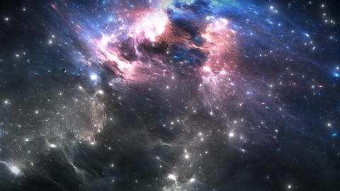 Space flight through nebula. Space travel Animation