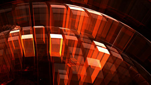 3d red transparent blocks with illusion of depth and perspective Animación