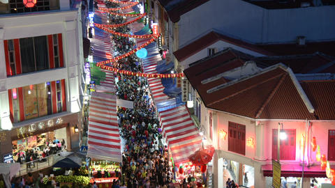Chinese New Year street shops view in the evening, Singapore 영상물