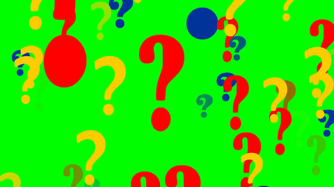 Flying question mark on green screen. FullHD video Animation